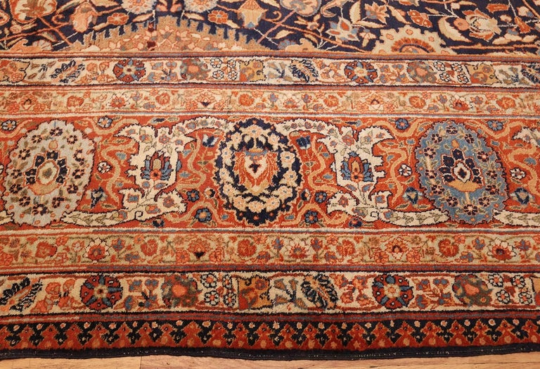 Wool Large Oversized Navy Blue Antique Persian Tabriz Rug For Sale