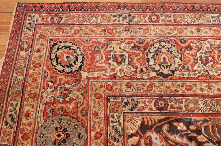 Large Oversized Navy Blue Antique Persian Tabriz Rug For Sale 1