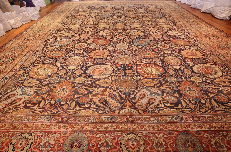 Large Oversized Navy Blue Antique Persian Tabriz Rug For Sale 2