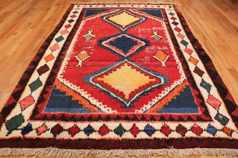 Colorful shabby chic vintage persian gabbeh rug for sale for Colorful rugs for sale