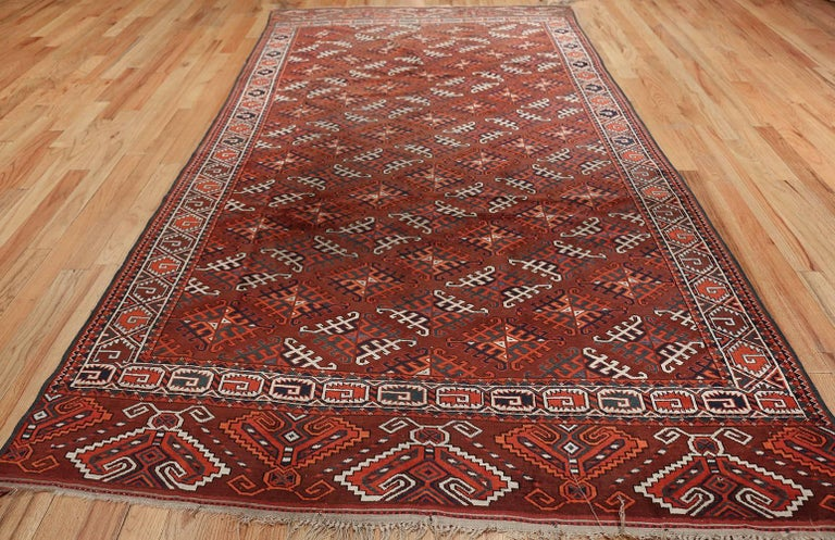 Hand-Knotted Antique Yomud Oriental Rug For Sale