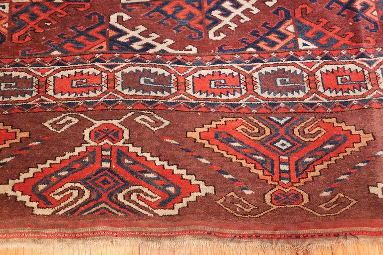 19th Century Antique Yomud Oriental Rug For Sale