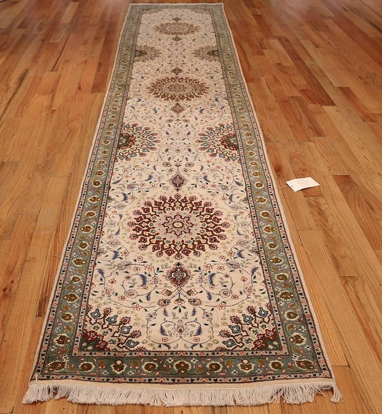 Ivory Wool And Silk Persian Naein Area Rug For Sale At 1stdibs: Wool And Silk Tabriz Persian Runner Rug At 1stdibs