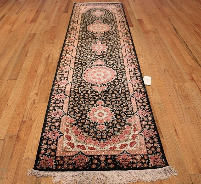 Ivory Wool And Silk Persian Naein Area Rug For Sale At 1stdibs: Black Silk Qum Persian Runner Rug For Sale At 1stdibs