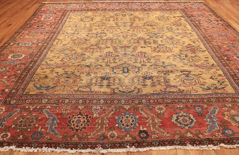Yellow Background Square Antique Sultanabad Persian Rug For 1