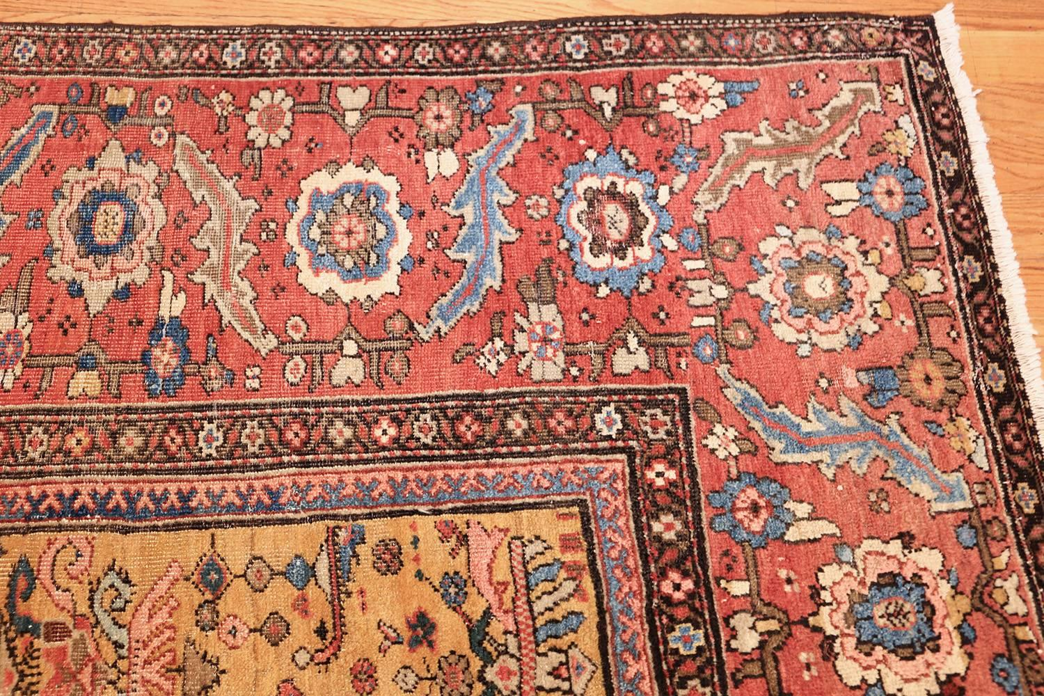 Yellow Background Square Antique Sultanabad Persian Rug For At 1stdibs