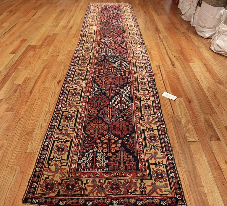 Early Antique Tribal Kurdish Shrub Design Runner Rug For