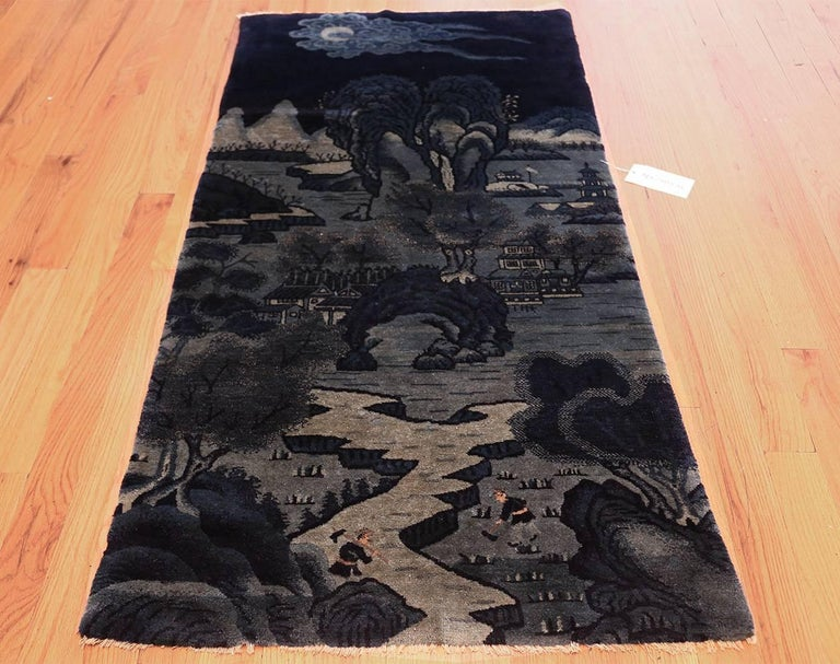 Beautiful Small Antique Scenic Pictorial Blue Chinese Rug For Sale 2