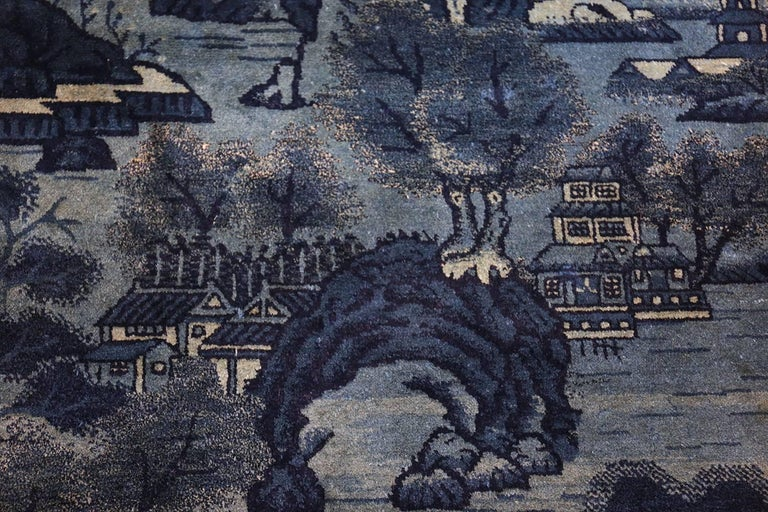 Wool Beautiful Small Antique Scenic Pictorial Blue Chinese Rug For Sale