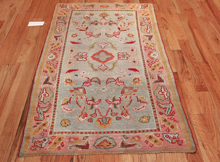 Light Blue Antique Oushak Turkish Rug For Sale 1