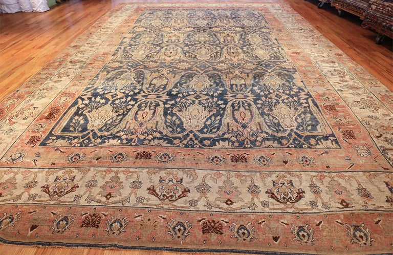 Large Blue Background Antique Bidjar Persian Rug For Sale 3