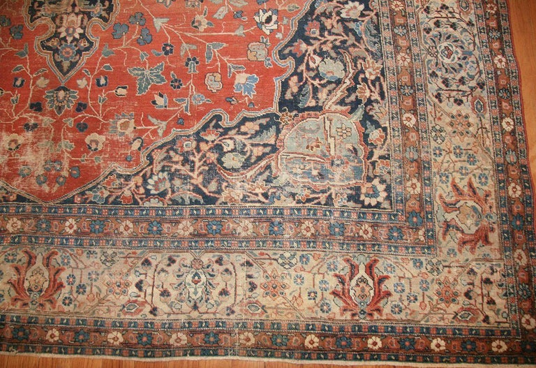 Hand-Knotted Beautiful Shabby Chic Antique Persian Tabriz Rug For Sale