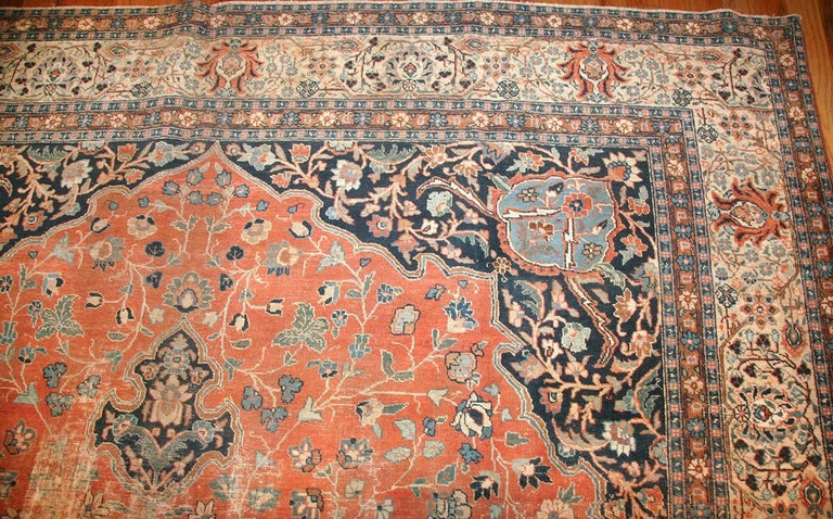 Beautiful Shabby Chic Antique Persian Tabriz Rug In Distressed Condition For Sale In New York, NY