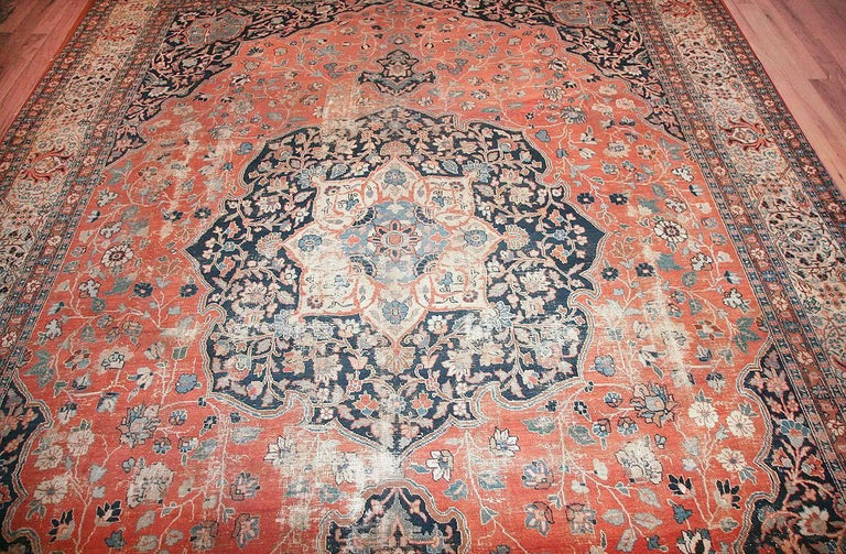Shabby chic antique Persian Tabriz rug, country of origin: Persia, circa date: Mid-20th century– Tabriz, a city in northwest Iran, or Persia, is known for weavers who produce exquisite rugs that are woven observing ancient and classical traditions.