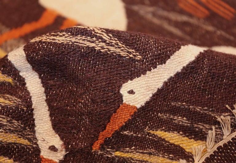 Naturalist Scene Vintage Scandinavian Kilim Rug. Size: 5 ft 9 in x 8 ft  For Sale 2
