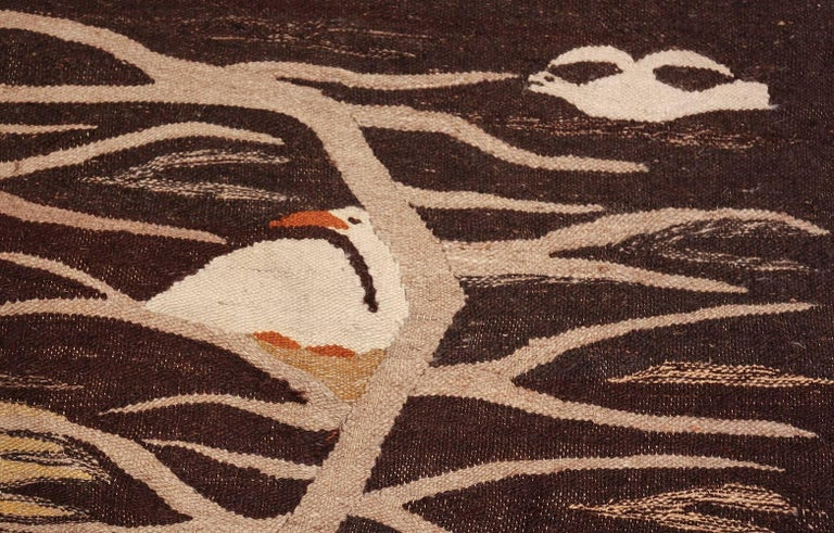 Hand-Woven Naturalist Scene Vintage Scandinavian Kilim Rug. Size: 5 ft 9 in x 8 ft  For Sale