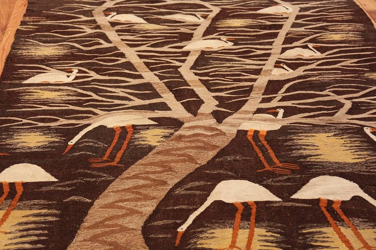 Wool Naturalist Scene Vintage Scandinavian Kilim Rug. Size: 5 ft 9 in x 8 ft  For Sale