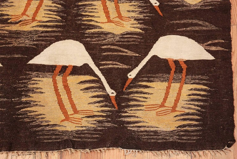 Naturalist Scene Vintage Scandinavian Kilim Rug. Size: 5 ft 9 in x 8 ft  In Excellent Condition For Sale In New York, NY