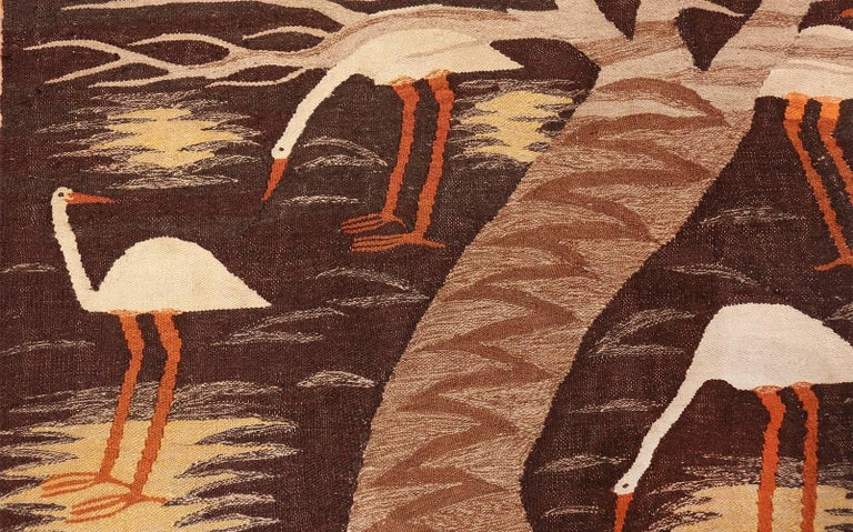 Naturalist Scene Vintage Scandinavian Kilim Rug. Size: 5 ft 9 in x 8 ft  For Sale 3