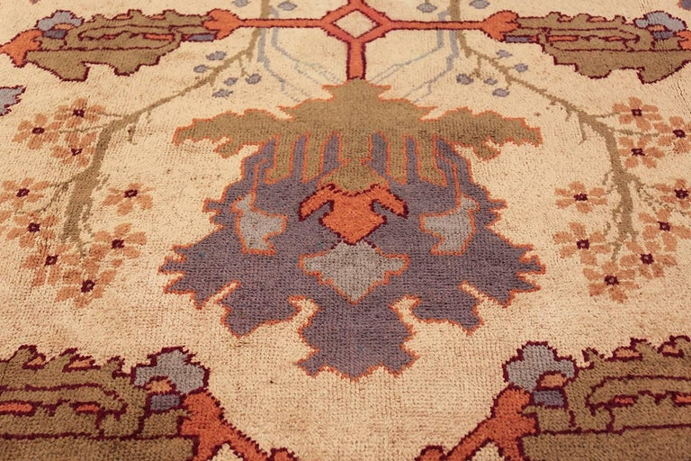 Hand-Knotted Large Gavin Morton Arts & Crafts Design Irish Donegal Rug For Sale