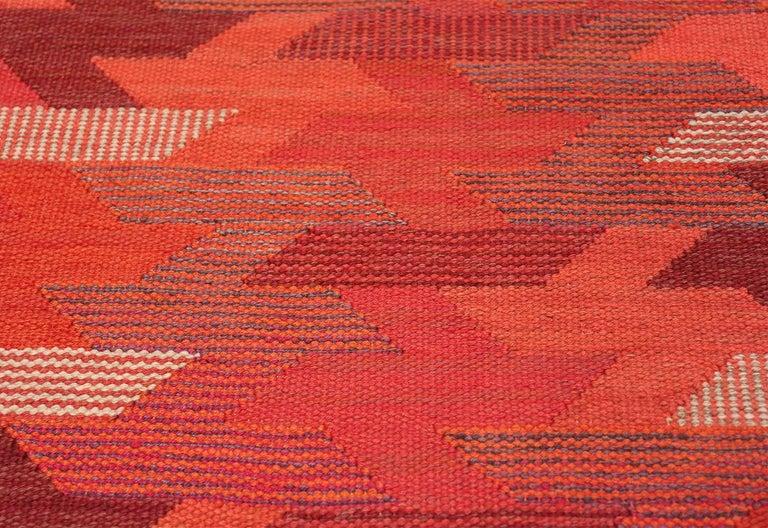 Hand-Woven Vintage Geometric Marta Maas Scandinavian Rug by Barbro Nilsson For Sale