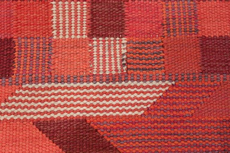 Breathtaking Vintage Geometric Marta Maas Scandinavian Rug by Barbro Nilsson, Country of Origin / Rug Type: Scandinavia Rug, Circa Date: Mid – 20th Century