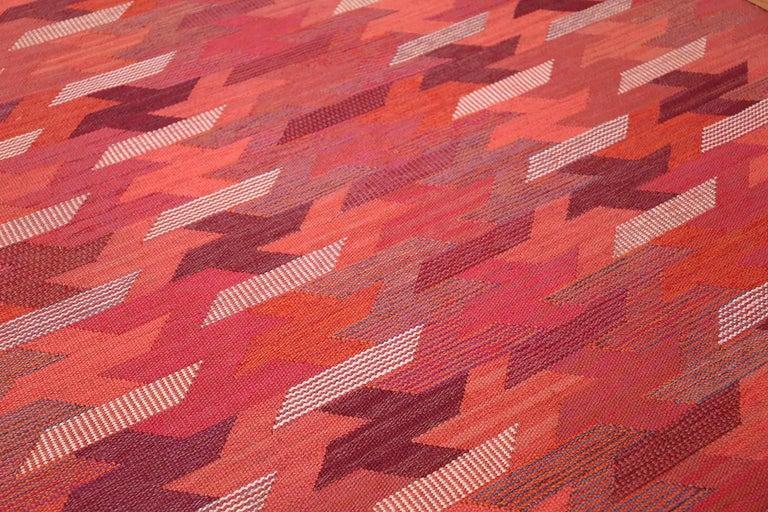 Wool Vintage Geometric Marta Maas Scandinavian Rug by Barbro Nilsson For Sale