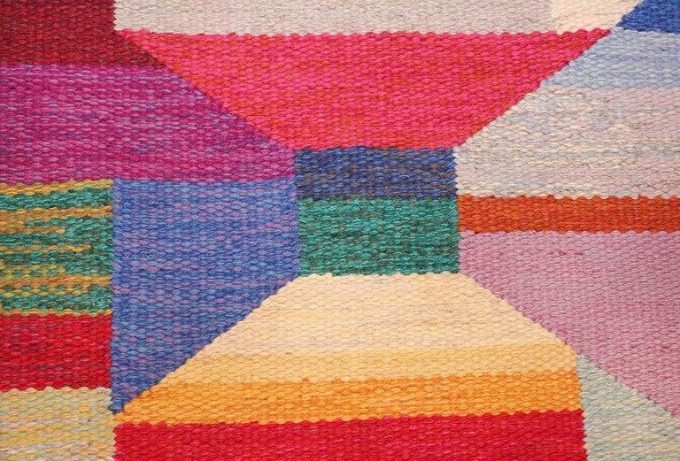 Colorful Vintage Scandinavian Kilim Rug by Agda Osterberg. Size: 5' 5