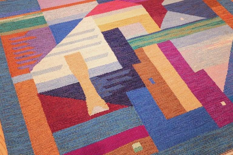 Swedish Colorful Vintage Scandinavian Kilim Rug by Agda Osterberg. Size: 5' 5