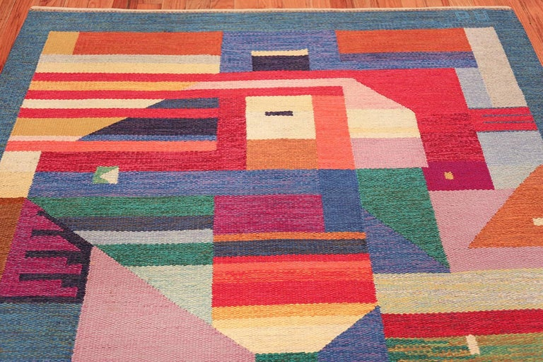 Mid-Century Modern Colorful Vintage Scandinavian Kilim Rug by Agda Osterberg. Size: 5' 5
