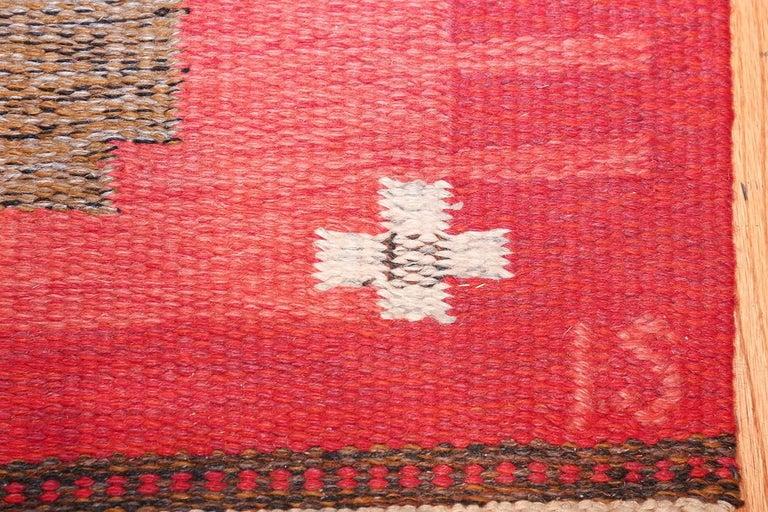 Mid-Century Modern Vintage Flat-Woven Scandinavian Rug by Ingegerd Silow For Sale