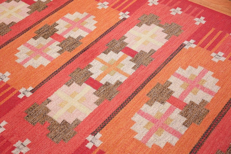 Hand-Woven Vintage Flat-Woven Scandinavian Rug by Ingegerd Silow For Sale