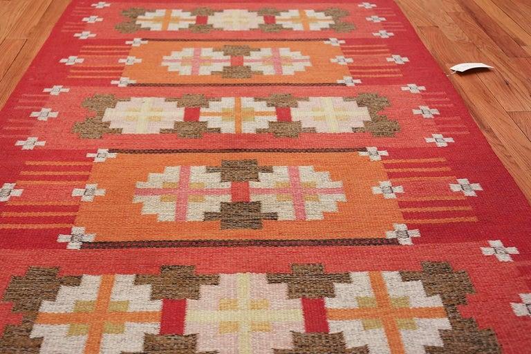 Wool Vintage Flat-Woven Scandinavian Rug by Ingegerd Silow For Sale