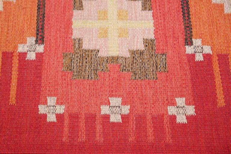 Vintage Flat-Woven Scandinavian Rug by Ingegerd Silow For Sale 3