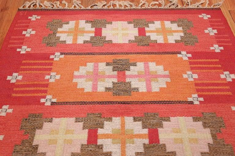 Vintage Flat-Woven Scandinavian Rug by Ingegerd Silow For Sale 1