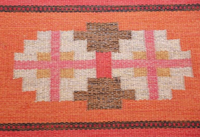 Vintage Flat-Woven Scandinavian Rug by Ingegerd Silow For Sale 2
