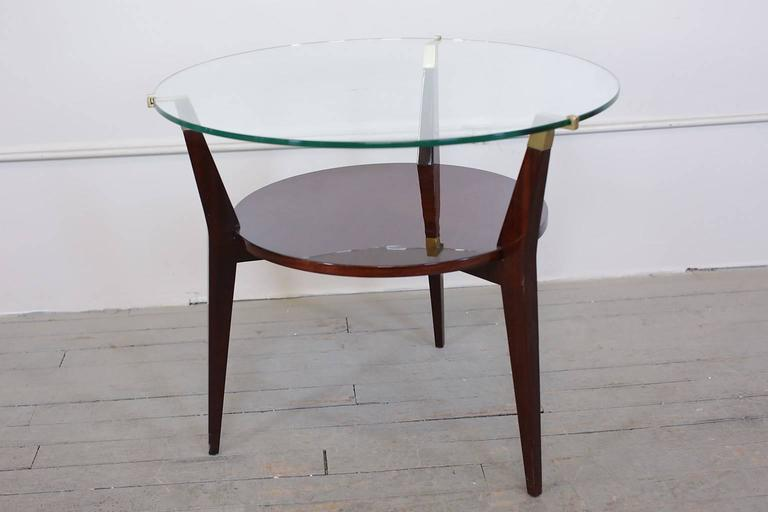 Mid century modern walnut and glass gueridon or side table for Mid century modern furniture new york