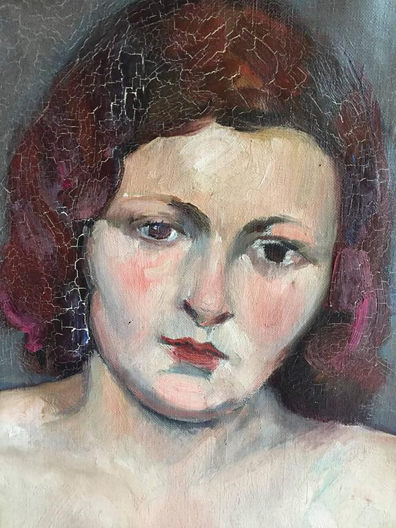 Vintage Nude Oil on Canvas Painting by Savignol, circa 1930 In Good Condition For Sale In Yountville, CA