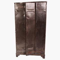 Vintage Metal Three-Door Locker, circa 1950
