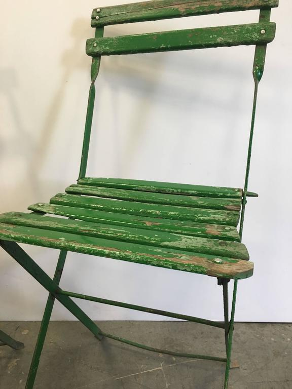 French Set Of Vintage Green Bistro Chairs For Sale