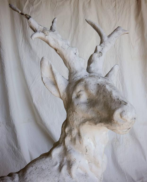 Cast Stone Sitting Stag Garden Statue In Distressed Condition For Sale In Yountville, CA