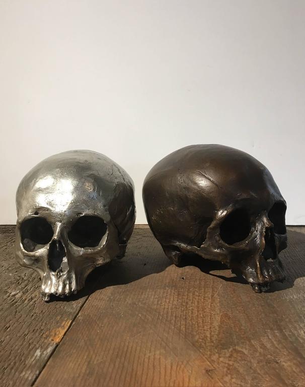 Contemporary Cast Bronze Skull For Sale
