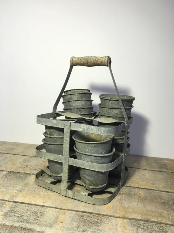 Early 20th Century Vintage French Four-Bottle Wine Carrier Baskets In Good Condition For Sale In Napa, CA