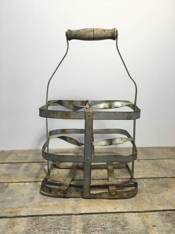 Early 20th Century Vintage French Four-Bottle Wine Carrier Baskets For Sale 6