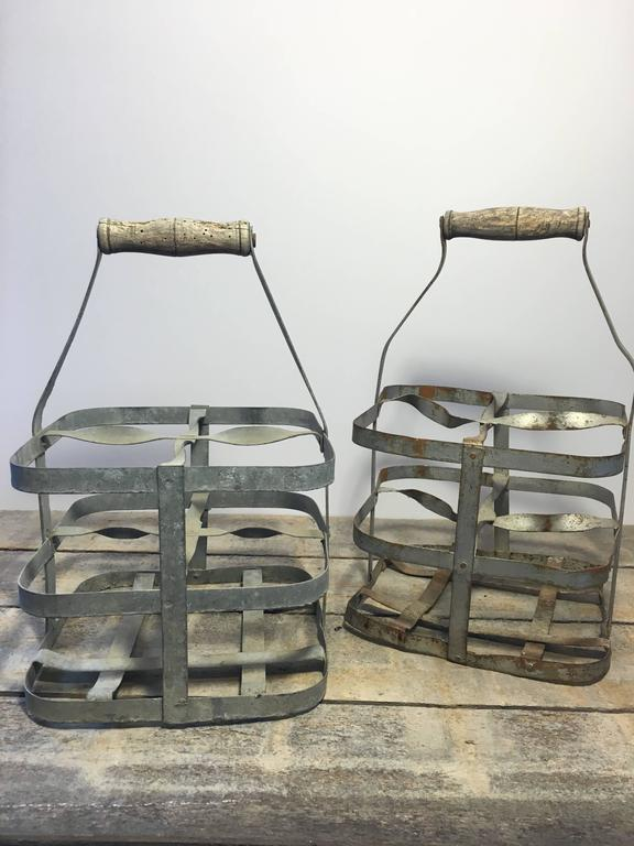 Early 20th Century Vintage French Four-Bottle Wine Carrier Baskets For Sale 5