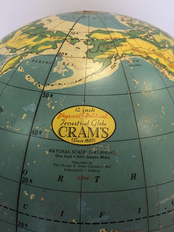 North American Cram's Terrestrial Globe For Sale