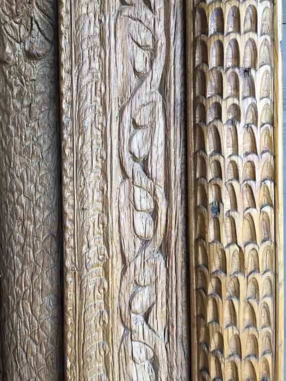 Folk Art Vintage Carved Wooden Door Panels For Sale