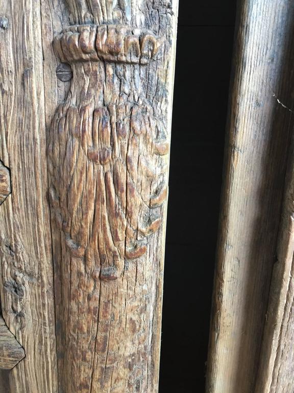 Pakistani Vintage Carved Wooden Door Panels For Sale