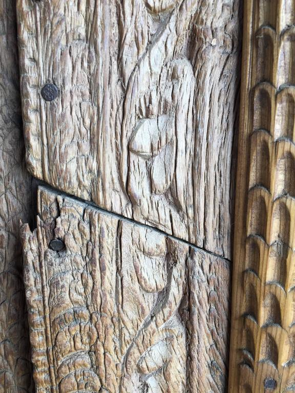 Vintage Carved Wooden Door Panels In Distressed Condition For Sale In Yountville, CA