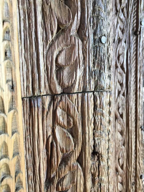 Vintage Carved Wooden Door Panels For Sale 3
